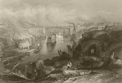 Sunderland, the bridge from the west. Durham. FINDEN 1842 old antique print