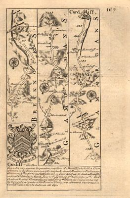 Cardiff-Caerphilly road strip map by J. OWEN & E. BOWEN 1753 old antique