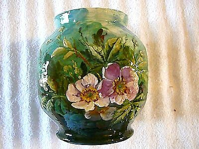 19th Century French Victorian Theodore LeFront Floral Pottery Vase Barbotin