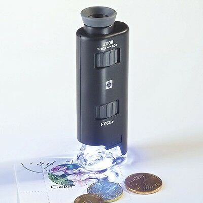 Lighthouse Zoom Microscope Led Magnifier 60x 100x Coins Currency Stamps Minerals