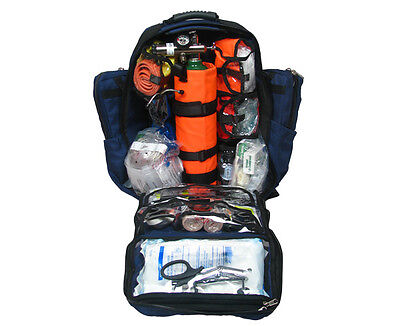 Ultimate Pro O2 Oxygen Backpack Trauma Kit, D Cylinder - Fully Stocked - Blule