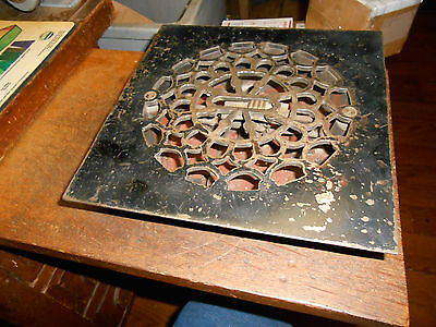 "8-3/4"" Square Ornate Cast Iron Heating / Air Grate Floor Vent For 7"" Duct"
