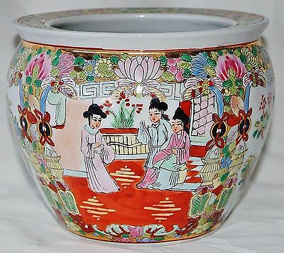 VTG Japanese Hand Painted Cachepot Cache Pot Flower Gold Details Artist Signed