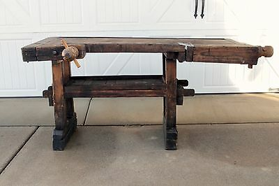 1800S Early Antique Primitive Wood Woodworking Carpenters Workbench Table Vises