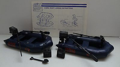 1985 GI Joe Cobra Night Landing Raft x2 w/Blueprints! Vintage Hasbro -P