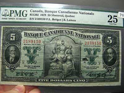 5 dollars 1929 Banque Canadienne Nationale PMG VF-25 Canada CH 85-12-02 $5 5$