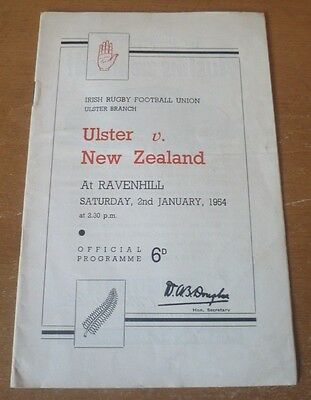 1954 - Ulster v New Zealand, Touring Match Programme.