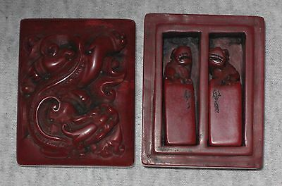 19th century Antique Chinese Imperial carved Shouson stone box and seals