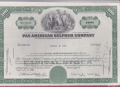 Vintage Certificate Of Stock Pan American Sulphur Company 100 Shares
