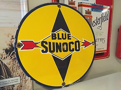 Sunoco Blue Porcelain Gas Pump Sign Vintage Gasoline Oil Company Lube Michigan