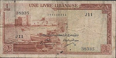 Lebanon 1 Lira  1.1 1961 P 55a  Series J 11 Circulated Banknote