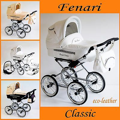 Classic pram with option car seat and iso base eco-leather , pushchair ,buggy