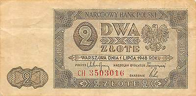 Poland  2  Zlote  1.7.1948  P 134  Series CH  Circulated Banknote