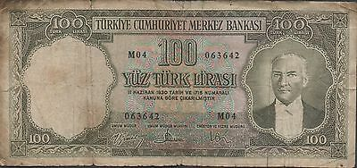 Turkey 100 Lira 1950's P 169a Series M 04 Circulated Banknote