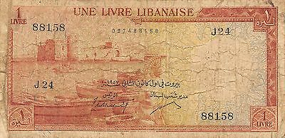 Lebanon 1 Lira 1.1.1957 P 55a  Series J 24   circulated Banknote