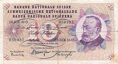 Switzerland 10 Francs 28.3.1963  P 45c Series 33 O  circulated Banknote , E2