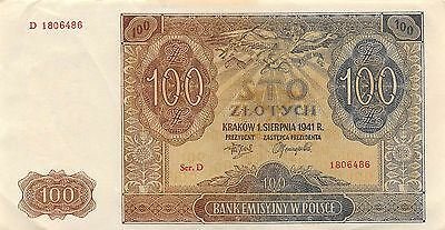 Poland  100  Zlotych  1.8.1941  P 103  Series D  Circulated Banknote