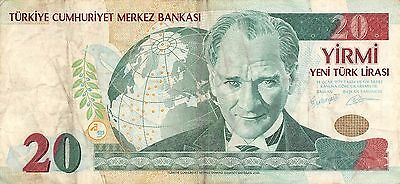 Turkey 20  New Lira  2005  P 219  Series F50 circulated Banknote , E1