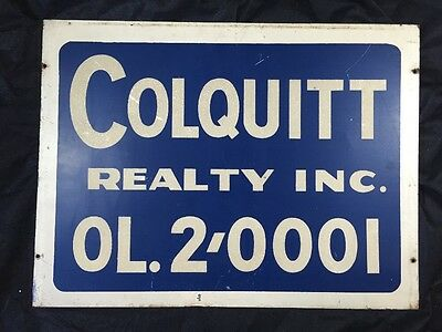 Vintage Double Sided Advertising Sign Realty Cola Soda Sign Not Porcelain
