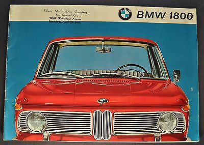 1964-1965 BMW 1800 Catalog Sales Brochure Excellent Original