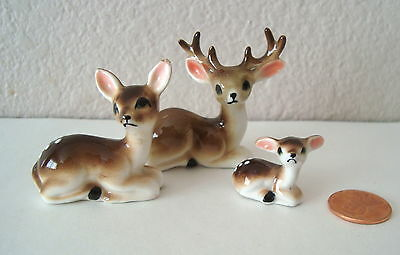 3 Vintage Miniature  Spotted DEER and FAWN Figurines Bone China
