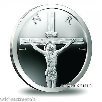 Jesus Crucifixion 1oz Proof - .999 Pure Silver Shield - Easter Art Round Beauty