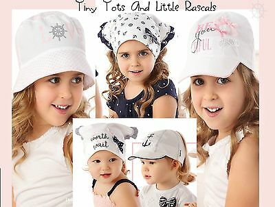 Baby Girls Toddler Summer Hat Cap Scarf Cotton Elasticated Back 6 mths - 2 years