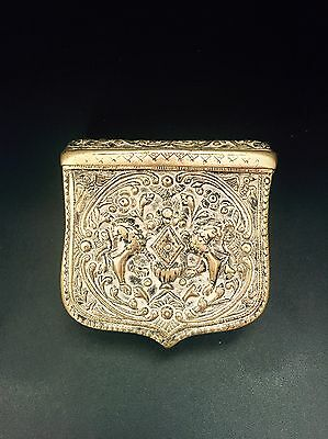 PALASKA ANTIQUE GREEK -OTTOMAN BRASS CARTRIDGE BOX Gun Powder