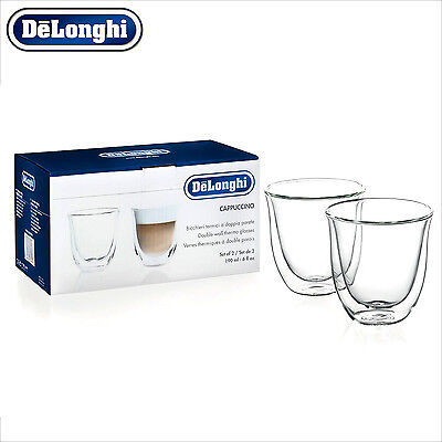 Genuine DeLonghi Cappuccino Double Wall Thermo Glasses Cups