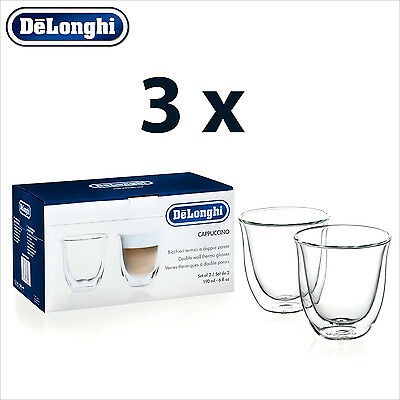 3 x Genuine DeLonghi Cappuccino Double Wall Thermo Glasses Cups - 6 Glasses