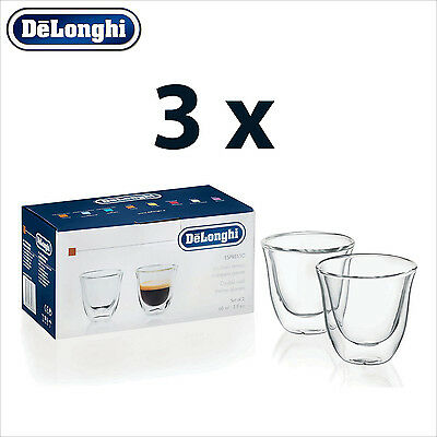 3 x Genuine DeLonghi Espresso Double Wall Thermo Glasses Cups - 6 glasses