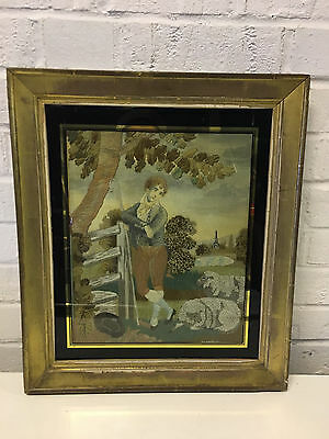 Antique English Silk Embroidered Needlework Picture Shepherd Boy / Man w 2 Sheep