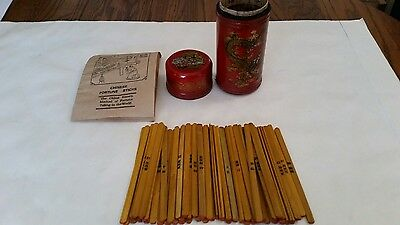 Vintage Chinese Fortune Telling Sticks in Hand Painted Leather Box Birds
