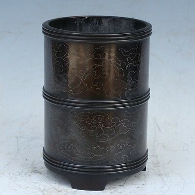 Chinese Exquisite Hand-made Cloud pattern copper Pen holder