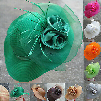 Women Dress Church Wedding Crin Veil feather satin Kentucky Derby Sun Hats A433