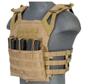 Lancer Tactical JPC Jumpable MOLLE Plate Carrier Chest Harness Tan Brown Vest