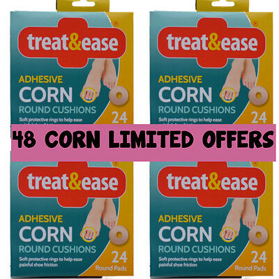 48 Round Corn Treat & Ease Foam Cushion Protective Ring Pads Plasters Foot Toe