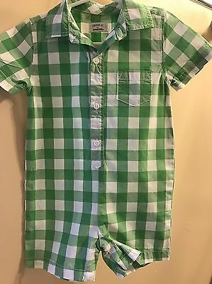 Gymboree Toddler Boy One Piece Green & White Check Outfit. Size 12-18 Months