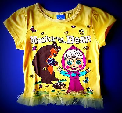 Masha and the Bear Girl Baby Toddler Short Sleeve New T-Shirt