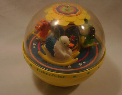 Fisher-Price yellow RolyPoly CHIME BALL #1150. 3 animal rockers Very nice