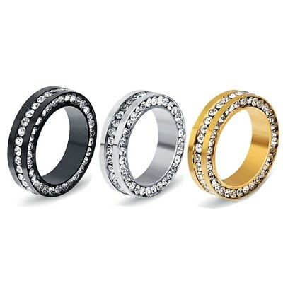 Silver/Gold/Black Stainless Steel White CZ Band Women's Wedding Rings Size 6-10