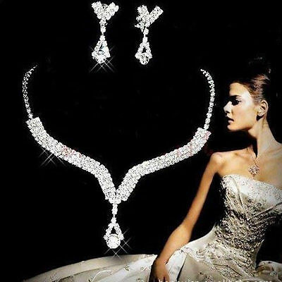 Women Bridal Jewelry Wedding PARTY Crystal Rhinestone Earrings Necklace Set