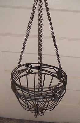 Vintage Plant Holder Wrought Iron Hanging Basket Planter Porch/Garden/Cottage