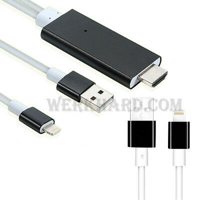 8 Pin to HDMI HDTV AV Lighting Cable Adapter for iPhone 5 6 iPad Air Mini 4 2M