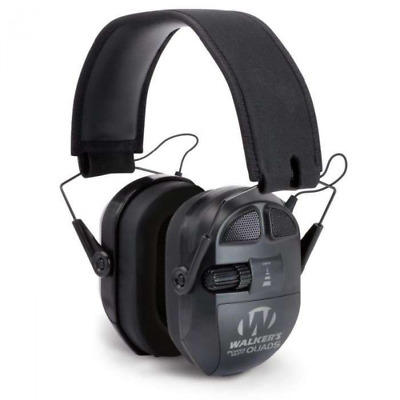 Casque Anti-Bruit Actif - Ultimate PowerMuff QUADS Black (26dB SNR)Walker's