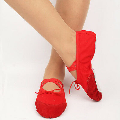Kids Soft Sole Ballet Dance Shoes Gymnastics Shoes Slippers Canvas Red Size 27