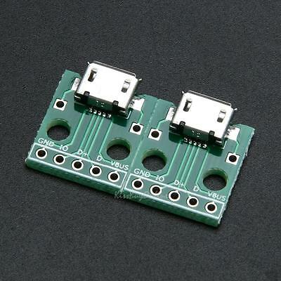 10pcs MICRO USB to DIP Adapter 5pin female connector pcb converter for Computer