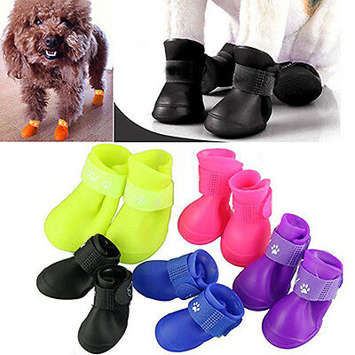 4PCS Lovely WATERPROOF ANTI-SLIP RAIN BOOTS SHOES FOR CAT DOG PUPPY PET WARM