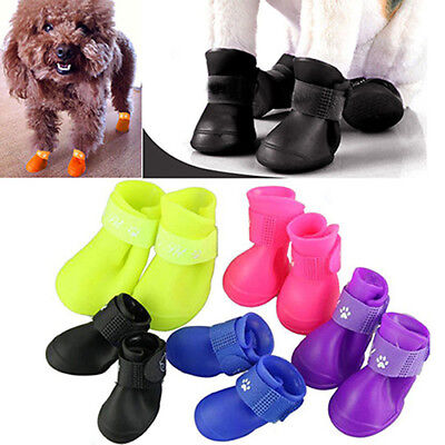 4Pcs Lovely Waterproof Anti-Slip Rain Boots Shoes for Cat Dog Puppy Pet Handy