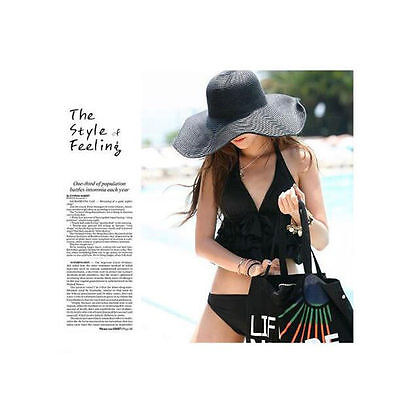 Women Fashion Wide Large Brim Folding Summer Sun Hat Straw Beach Cap Solid Color
